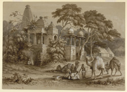 Temple in a grove of trees. In the foreground baggage camels and bearers, army tents beyond, with a man sitting beside a brazier